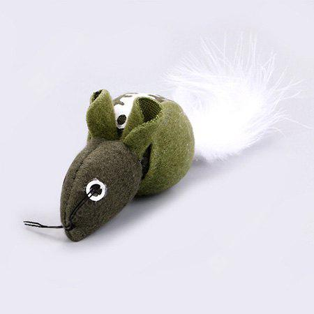 Buy Funny Long Fuzzy Tail Mouse Pattern Catnip Pet Toy GREEN