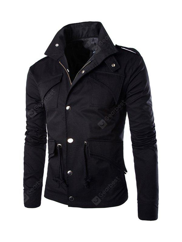BLACK 3XL Multi-pocket Design British Style Cotton Jacket
