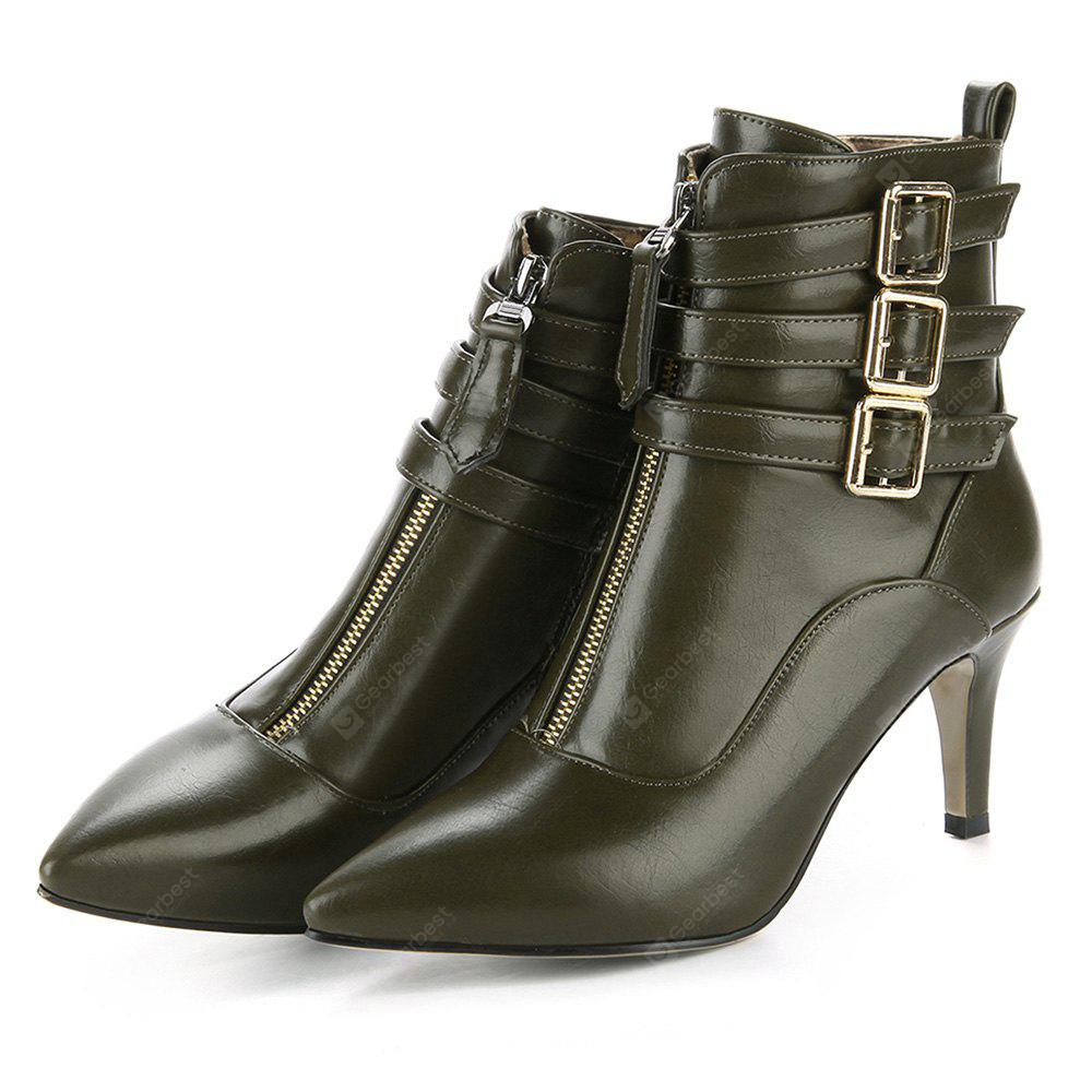 Female Lustrous Elegant Soft Stiletto Heel Casual Boots 37 ARMY GREEN