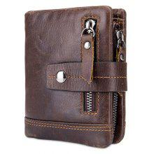 BULLCAPTAIN Men Trendy Genuine Leather Bifold Wallet with Buckle