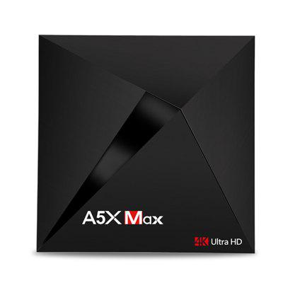 A5X Max RK3328 TV BoxTV Box<br>A5X Max RK3328 TV Box<br><br>5G WiFi: Yes<br>Audio format: AAC, APE, DDP, FLAC, HD, OGG, WAV, WMA, MP3<br>Bluetooth: Bluetooth4.0<br>Core: Quad Core<br>CPU: ARM Cortex-A53<br>Decoder Format: HD MPEG4, H.265, H.264, H.263<br>DVD Support: No<br>External Subtitle Supported: No<br>GPU: Mali-450<br>HDMI Function: HDCP<br>HDMI Version: 2.0<br>Interface: AV, HDMI, DC Power Port, LAN, SPDIF<br>Language: English,French,Germany,Italian,Japanese,Multi-language<br>Max. Extended Capacity: 128G<br>Model: A5X Max<br>Other Functions: 3D Games, 3D Video, Miracast, DLNA<br>Package Contents: 1 x TV Box, 1 x HDMI Cable, 1 x Remote Control, 1 x Power Supply, 1 x English User Manual<br>Package size (L x W x H): 20.80 x 13.90 x 6.50 cm / 8.19 x 5.47 x 2.56 inches<br>Package weight: 0.4700 kg<br>Photo Format: BMP, GIF, JPEG, PNG, TIFF<br>Power Supply: Charge Adapter<br>Power Type: External Power Adapter Mode<br>Processor: RK3328<br>Product size (L x W x H): 11.20 x 11.20 x 2.20 cm / 4.41 x 4.41 x 0.87 inches<br>Product weight: 0.2000 kg<br>RAM: 4G RAM<br>RAM Type: DDR3<br>RJ45 Port Speed: 1000M<br>ROM: 32G ROM<br>Support 5.1 Surround Sound Output: Yes<br>System: Android 7.1<br>System Bit: 64Bit<br>Type: TV Box<br>Video format: VP8, VP9, VC-1, MPEG4, VP6, MPEG2, MPEG1, 4K<br>WiFi Chip: 8723BS
