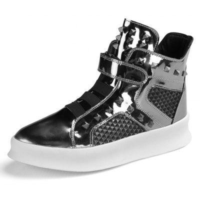Male Street Hip-hop Glossy High Top Martin Rivet SneakersMen's Sneakers<br>Male Street Hip-hop Glossy High Top Martin Rivet Sneakers<br><br>Closure Type: Buckle Strap<br>Contents: 1 x Pair of Shoes, 1 x Box<br>Decoration: Split Joint<br>Function: Slip Resistant<br>Materials: Rubber, PU<br>Occasion: Tea Party, Sports, Riding, Party, Casual, Shopping, Daily, Holiday, Outdoor Clothing<br>Outsole Material: Rubber<br>Package Size ( L x W x H ): 31.00 x 25.00 x 21.00 cm / 12.2 x 9.84 x 8.27 inches<br>Package Weights: 1.10kg<br>Pattern Type: Solid<br>Seasons: Autumn,Spring<br>Style: Modern, Leisure, Fashion, Comfortable, Casual<br>Toe Shape: Round Toe<br>Type: Sports Shoes<br>Upper Material: PU