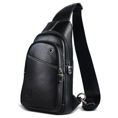 Buy BLACK VERTICAL Men Business Durable Genuine Leather Shoulder Bag for $36.06 in GearBest store