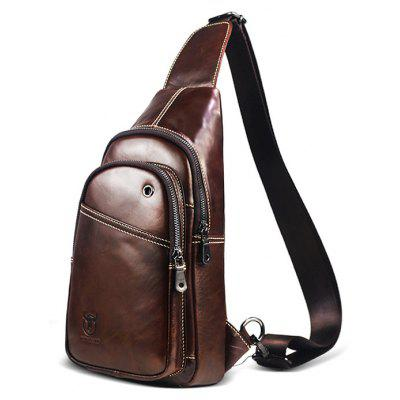 Buy BROWN VERTICAL Men Business Durable Genuine Leather Shoulder Bag for $36.06 in GearBest store