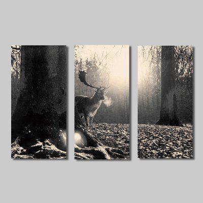 Buy COLORMIX JOY ART A Deer in Forest Print Framed Canvas Painting 3PCS for $44.23 in GearBest store