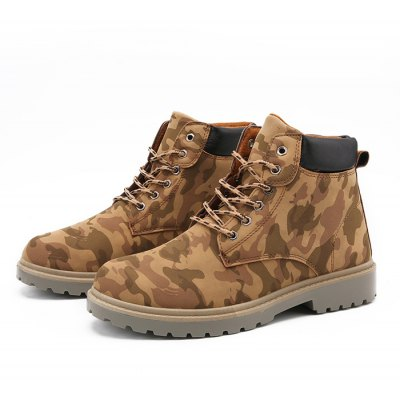 Male Trendy Versatile Camouflage Ankle Top Casual Boots