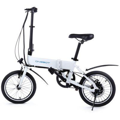 Onebot T4 Folding Electric Bike with 5.2Ah Battery EU / US PlugElectric Bikes<br>Onebot T4 Folding Electric Bike with 5.2Ah Battery EU / US Plug<br><br>Braking System: Double V Brake<br>Brand: Onebot<br>Frame material: Aluminum Alloy<br>Package Content: 1 x Onebot T4 Electric Bike, 1 x Adapter, 1 x EU Plug, 1 x US Plug, 1 x English User Manual<br>Package size: 66.00 x 40.00 x 74.00 cm / 25.98 x 15.75 x 29.13 inches<br>Package weight: 19.2000 kg<br>Product size: 120.00 x 64.00 x 90.00 cm / 47.24 x 25.2 x 35.43 inches<br>Product weight: 14.2000 kg<br>Type: Electric Bicycle<br>Wheel Size: 16 inches