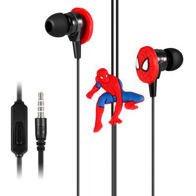 Y08 Cartoon Spider Style  On-cord Control In-ear Earphones