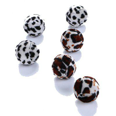 Funny Cats Toy Leopard Print Pattern Balls 6pcs