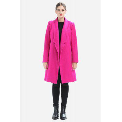 Fitted Solid Color Knee-length Thick Overcoat for Women