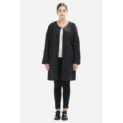 Split Joint Round Neck Loose Trench for Women