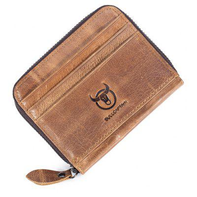 BULLCAPTAIN Fashion Solid Color Leather Card Holder