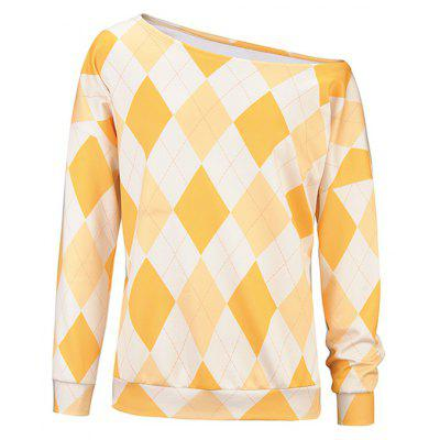 Mulheres Diamond Lattice Off-shoulder Halloween Hoody