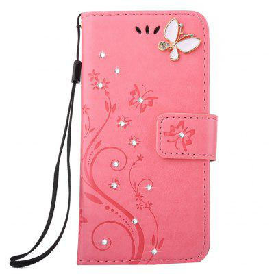 Stamp Pattern Leather Sheath Mobile Phone Case for iPhone 8
