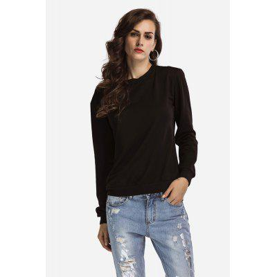 Black Lace-up Back Hoody for Women
