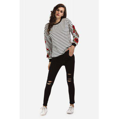 Striped Embroidery Long-sleeved Hoody for Women