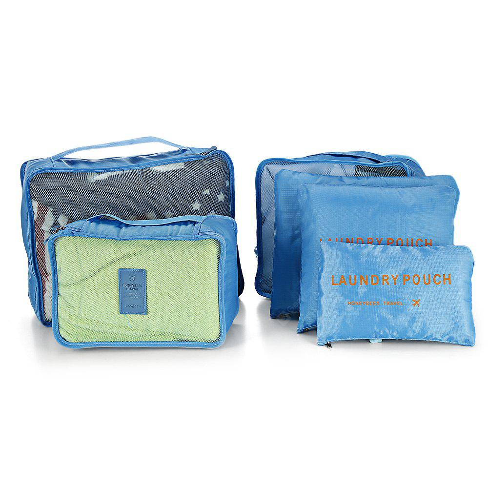 6 in 1 Travel Storage Pouch Zipper Closure Wash Makeup Bag