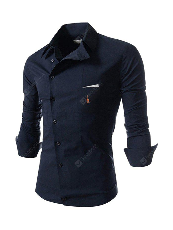Male Pure Color Classic Embroidery Shirt