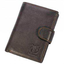 BULLCAPTAIN Men Trendy Solid Color Trifold Leather Wallet