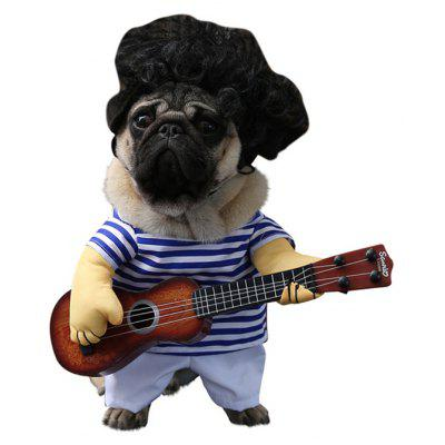Cute Pet Costume Guitar Player Style Dog Cat Party Outfit Suit