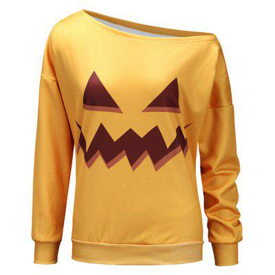 Feminino Pullover Halloween Look One-shouldered Sweatshirt