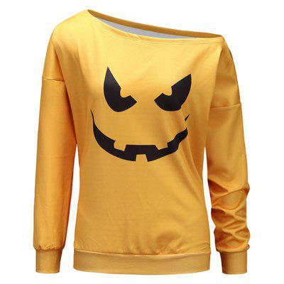Feminino Halloween Look One-shouldered Loose Sweatshirt