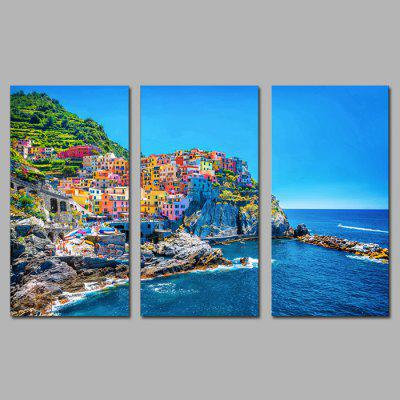 Buy COLORMIX JOY ART Italy Seaside Cityscape Print Framed Canvas Painting 3PCS for $44.23 in GearBest store
