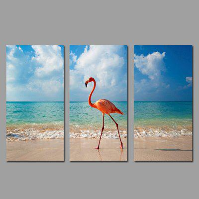 Buy COLORMIX JOY ART Seaside Red Bird Print Framed Canvas Painting 3PCS for $44.23 in GearBest store