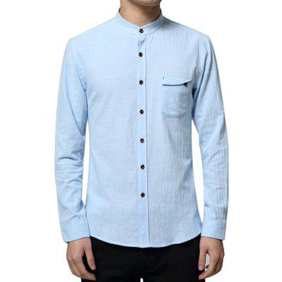 Male Simple Pure Color Elegant Shirt with Chest Pocket
