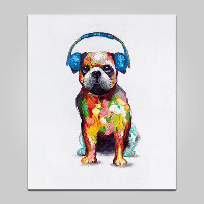 Buy COLORMIX LARGE YHHP Animal Dog with Earphone Canvas Print for $21.56 in GearBest store