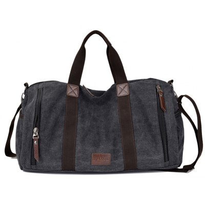 Buy BLACK Men Fashion Canvas Travel Tote Bag for $35.33 in GearBest store