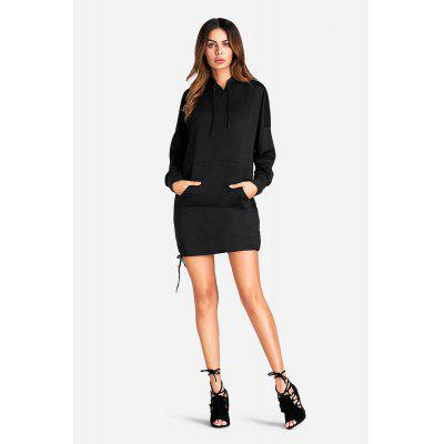 Women Fashion Solid Lace-up Long Sleeves Hoodie
