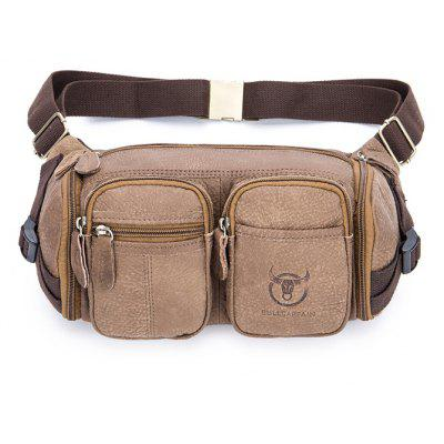 Buy LIGHT BROWN Men Stylish Water-resistant Genuine Leather Waist Bag for $37.99 in GearBest store