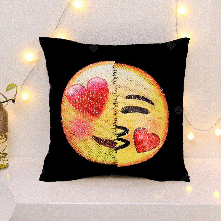 Creative Sequins Face Emoji DIY Square Cushion Pillowcase