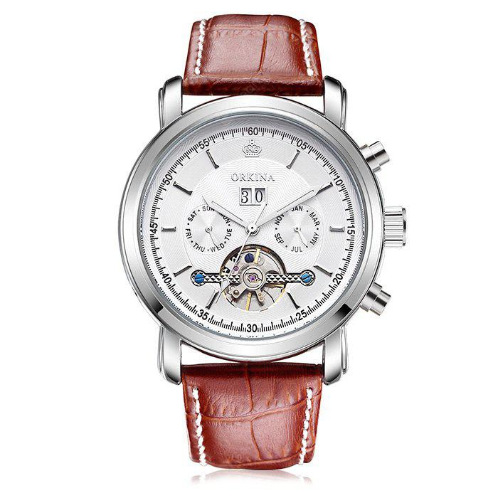MG.ORKINA KC042 Leather Band Men Mechanical Watch