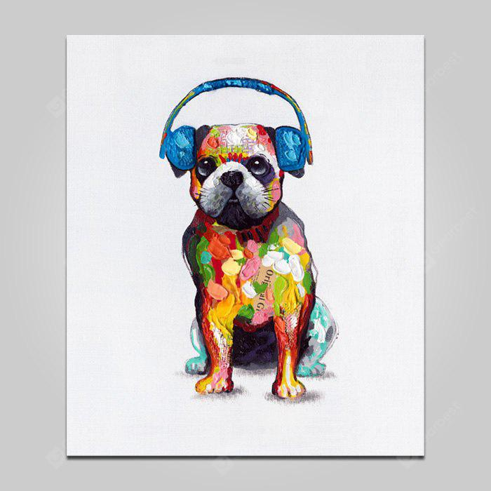 COLORMIX SMALL YHHP Animal Dog with Earphone Canvas Print