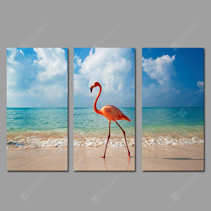COLORMIX JOY ART Seaside Red Bird Print Framed Canvas Painting 3PCS