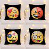 Creative Sequins Face Emoji DIY Square Cushion Pillowcase - YELLOW AND BLACK
