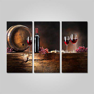 JOY ART Red Wine Bowl Print Framed Canvas Painting 3PCS