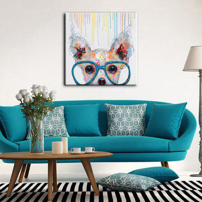 YHHP Glasses Dog Wall Decor PrintPrints<br>YHHP Glasses Dog Wall Decor Print<br><br>Brand: YHHP<br>Craft: Print<br>Form: One Panel<br>Material: Canvas<br>Package Contents: 1 x Print<br>Package size (L x W x H): 92.00 x 6.00 x 6.00 cm / 36.22 x 2.36 x 2.36 inches<br>Package weight: 0.3000 kg<br>Painting: Without Inner Frame<br>Product size (L x W x H): 90.00 x 90.00 x 1.00 cm / 35.43 x 35.43 x 0.39 inches<br>Product weight: 0.2500 kg<br>Shape: Square<br>Style: Cartoon / Anime<br>Subjects: Animal<br>Suitable Space: Bedroom,Cafes,Living Room
