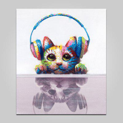 Buy COLORMIX YHHP Headset Cat Wall Decor Print for $21.56 in GearBest store