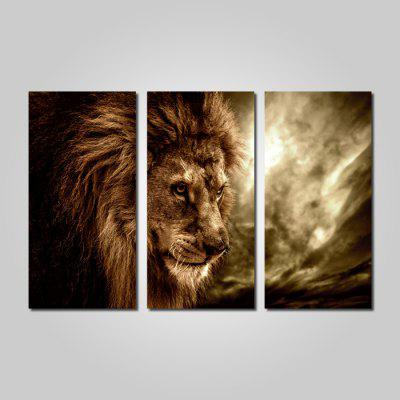 Buy BROWN JOY ART 0074 Stretched Canvas Lion Head Picture Print 3PCS for $44.23 in GearBest store