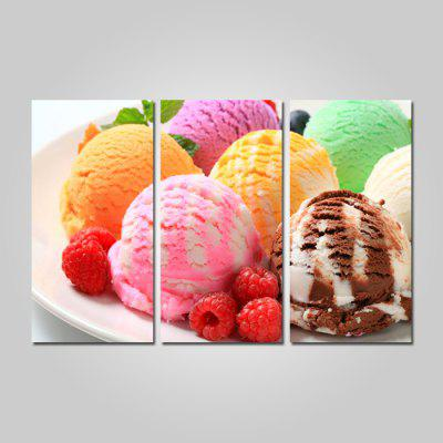 JOY ART 0057 Canvas Colorful Ice Cream Picture Print 3PCS
