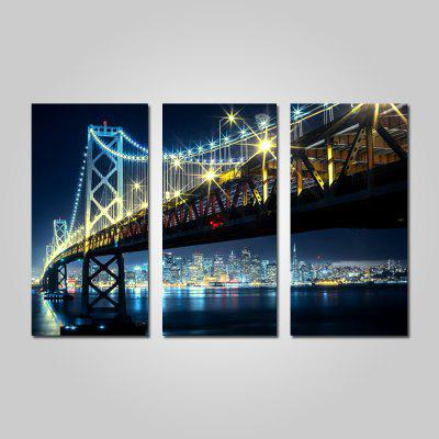 Buy COLORMIX JOY ART Framed Print Modern Bridge Nightscape Artwork 3PCS for $44.23 in GearBest store