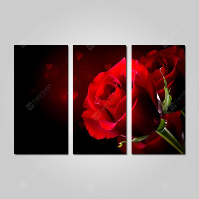 COLORMIX JOY ART Red Rose Print Framed Canvas Painting 3PCS