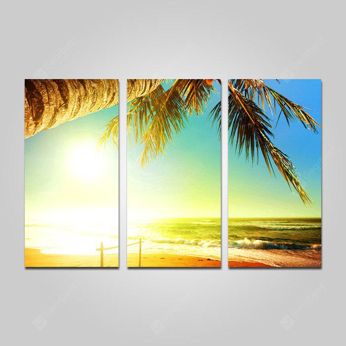 COLORMIX JOY ART Sunshine Beach Print Framed Canvas Painting 3PCS