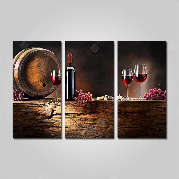 COLORMIX JOY ART Red Wine Bowl Print Framed Canvas Painting 3PCS