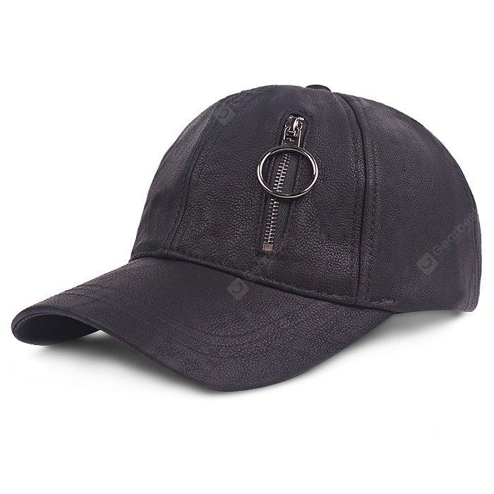 Leather Zipper Decor Outdoor Baseball Hat for Men