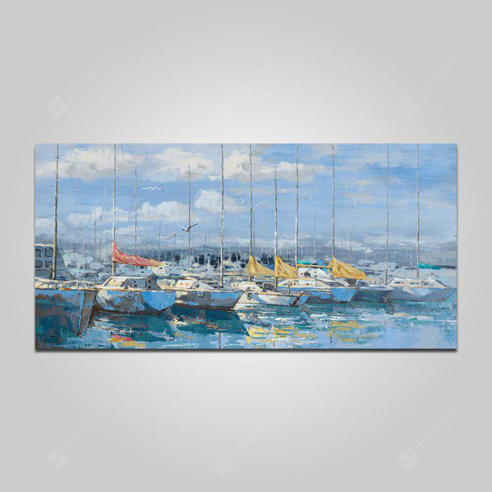 COLORMIX YHHP Harbor Boats Pattern Painting Canvas Print