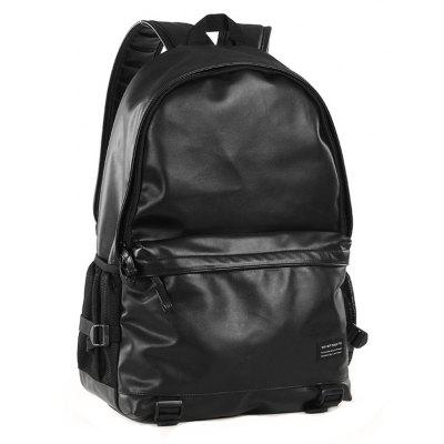 Buy BLACK Men Chic Solid Color PU Laptop Backpack for $31.03 in GearBest store